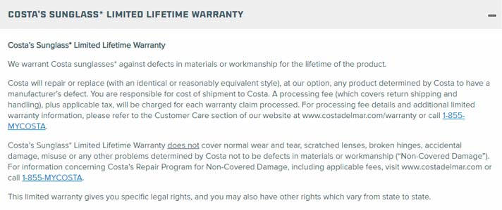 costa del mar warranty